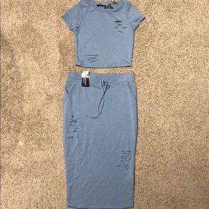 Brand new 2 piece crop and skirt
